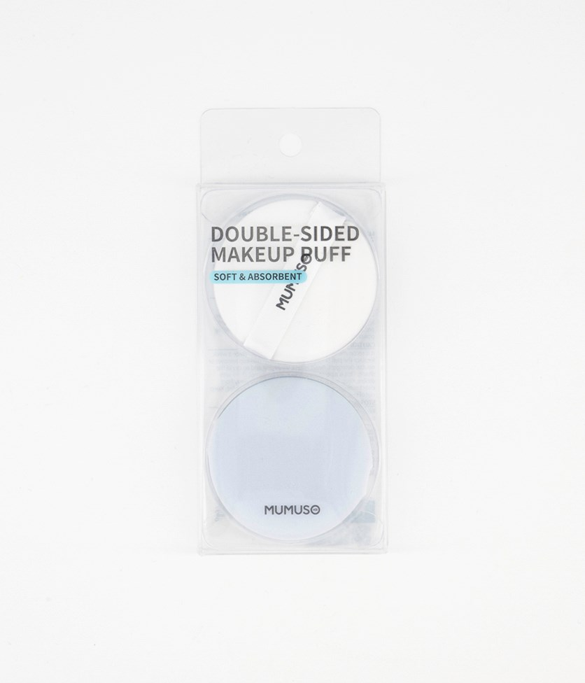 Double Sided Make Up Puff, White/Blue