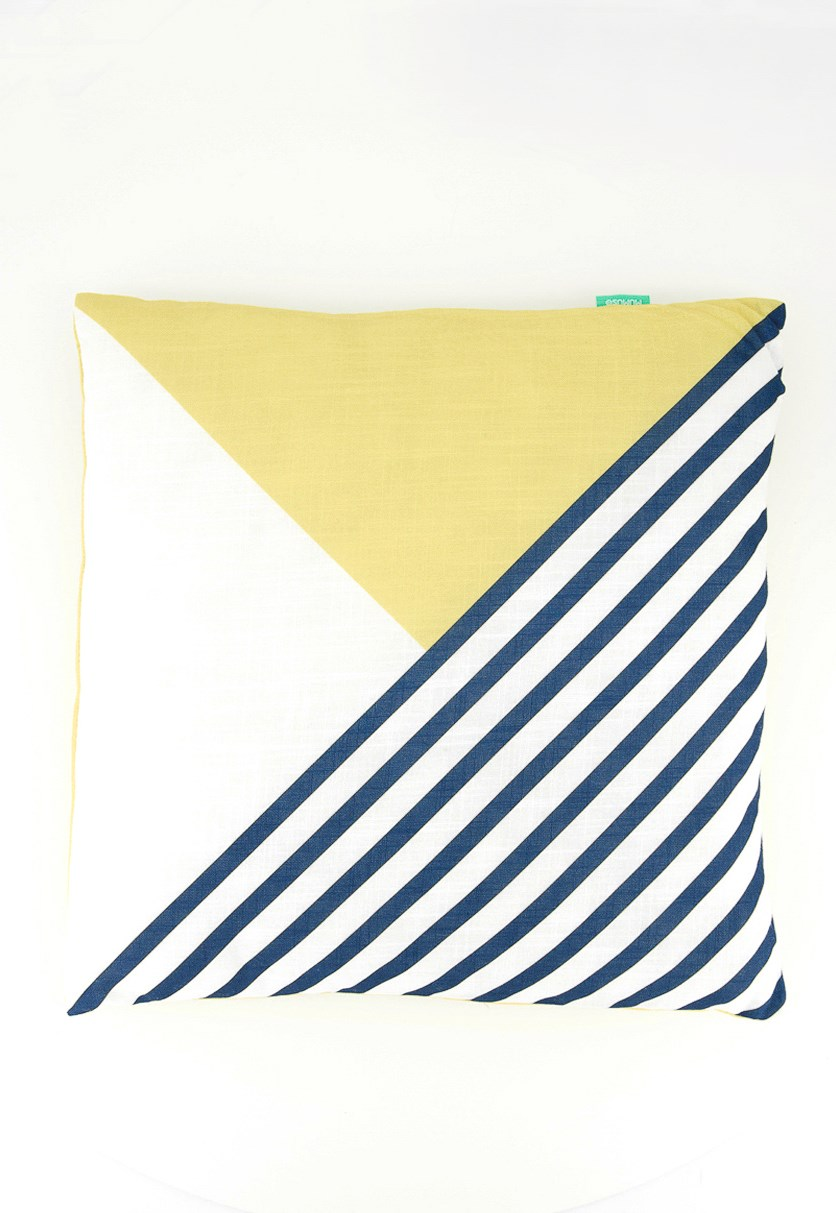Throw Pillow, White/Yellow