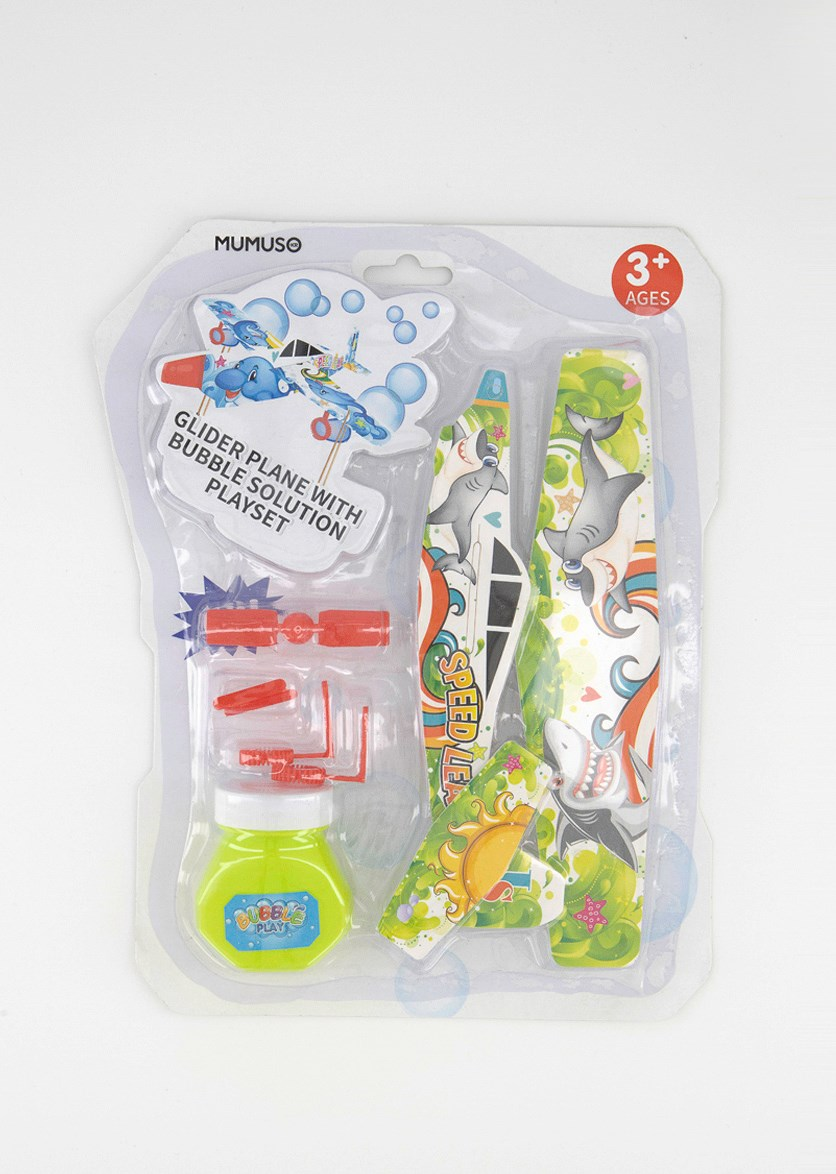 Glider Plane With Bubble Solution Playset, Green Combo