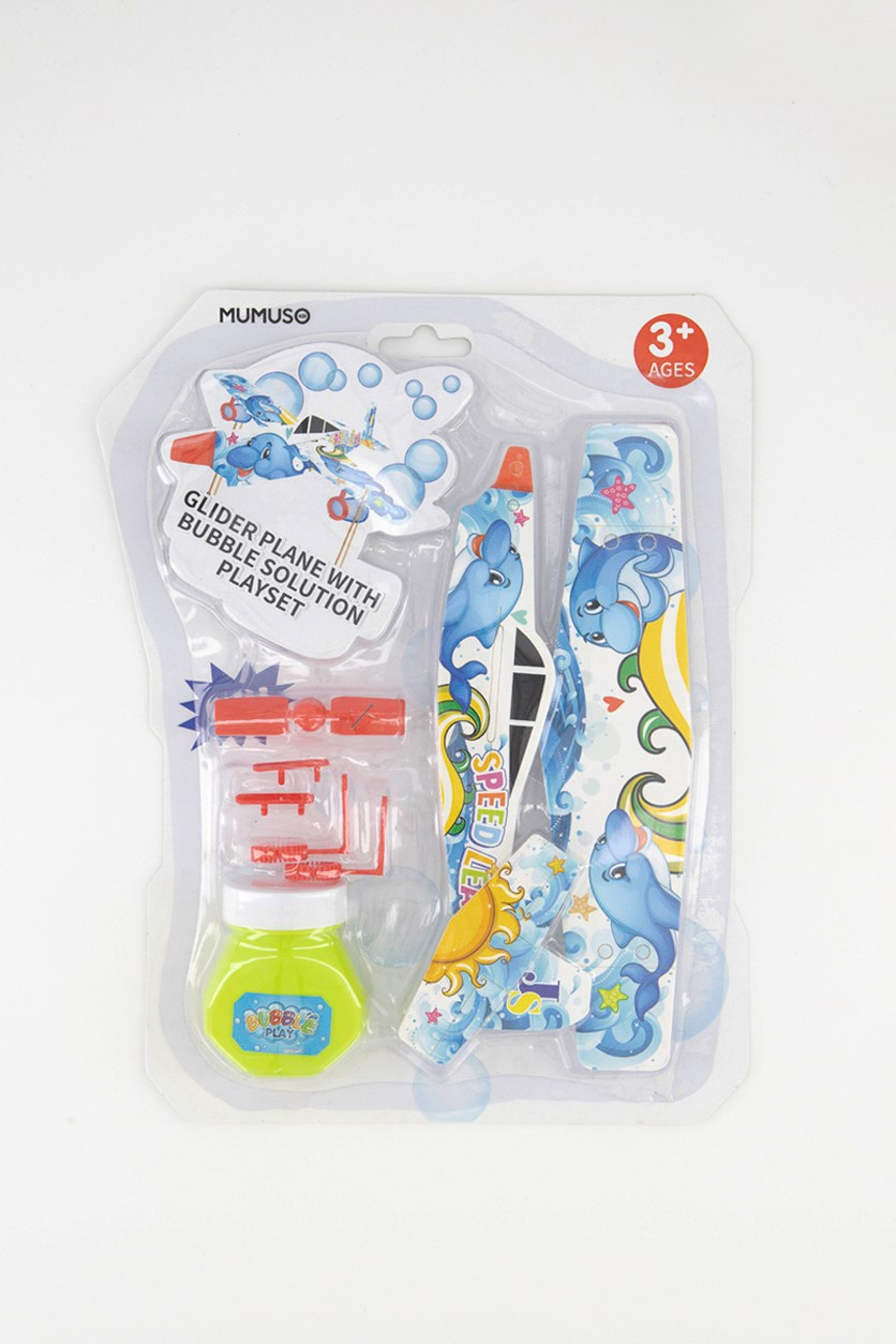 Glider Plane With Bubble Solution Playset, Blue Combo