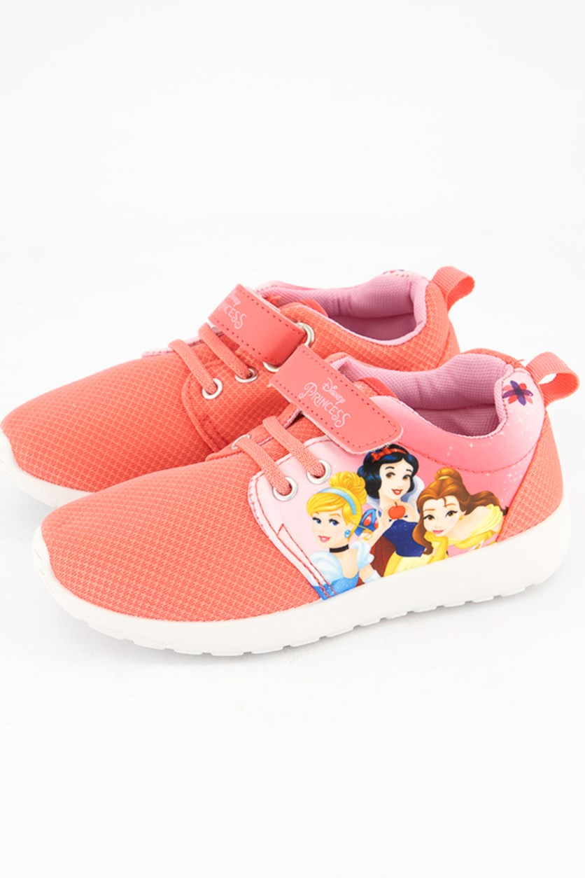 Kids Girls Disney Princess Print Shoes, Coral