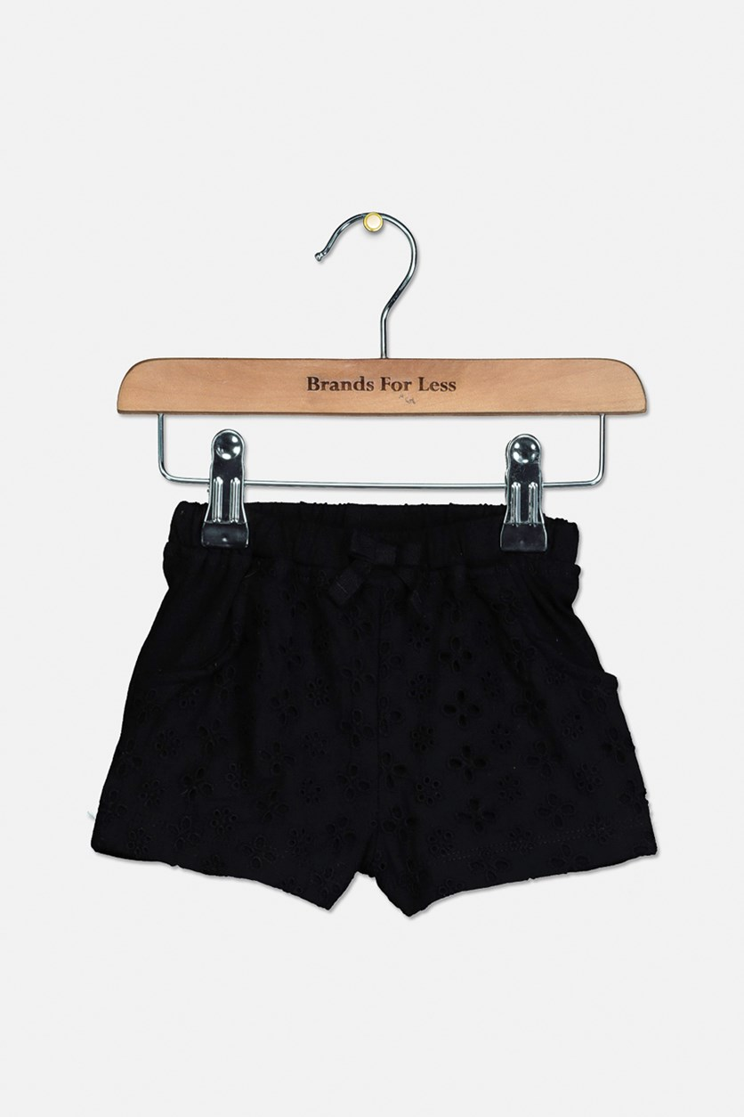 Baby Girl Cotton Eyelet Shorts, Deep Black
