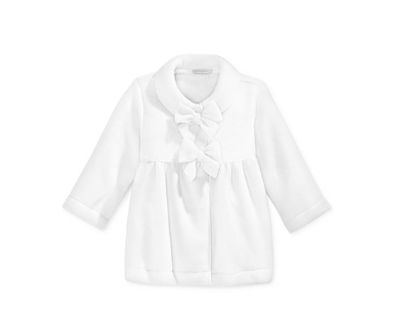 First Impressions Girls' Bow-Front Coat, White