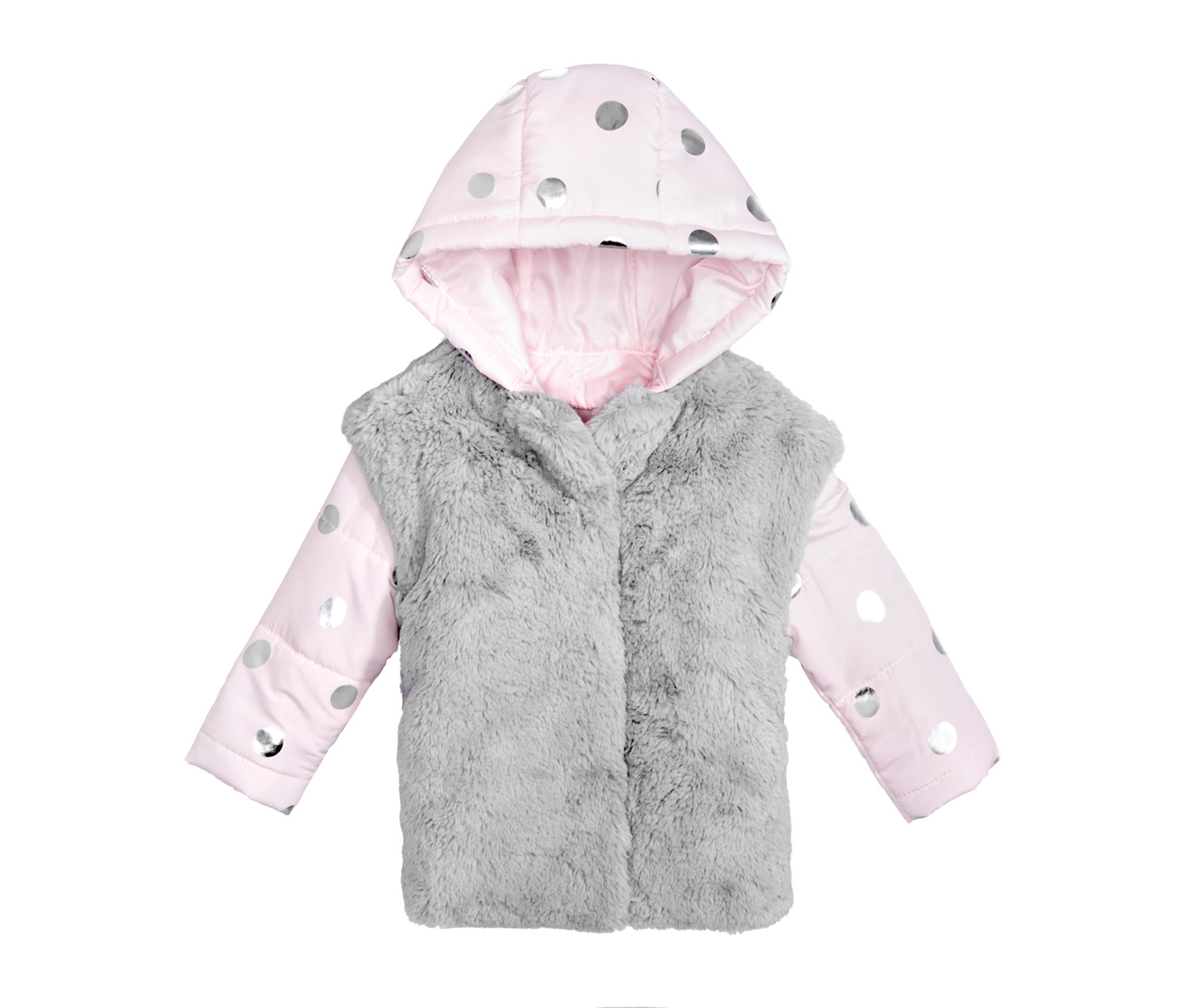 First Impressions Girl's Hooded Puffer Jacket with Faux-Fur Vest, Gray/Pink