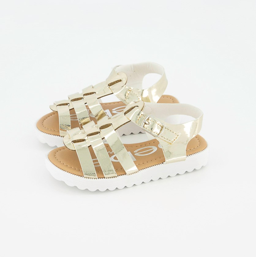 Toddler Girl's Mirror Metallic Sandal, Gold