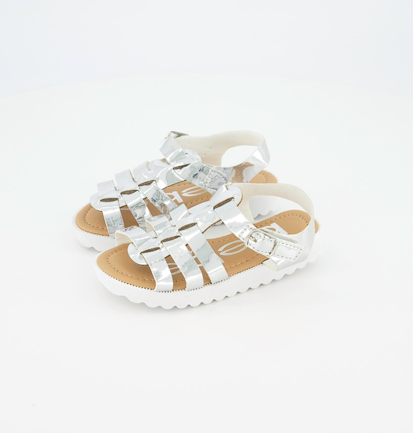 Toddler Girl's Mirror Metallic Sandal, Silver