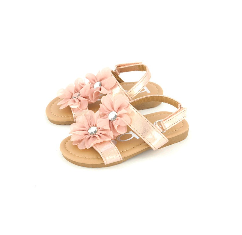Girl's Fashion Sandal with Rhinestone Flowers, Pink