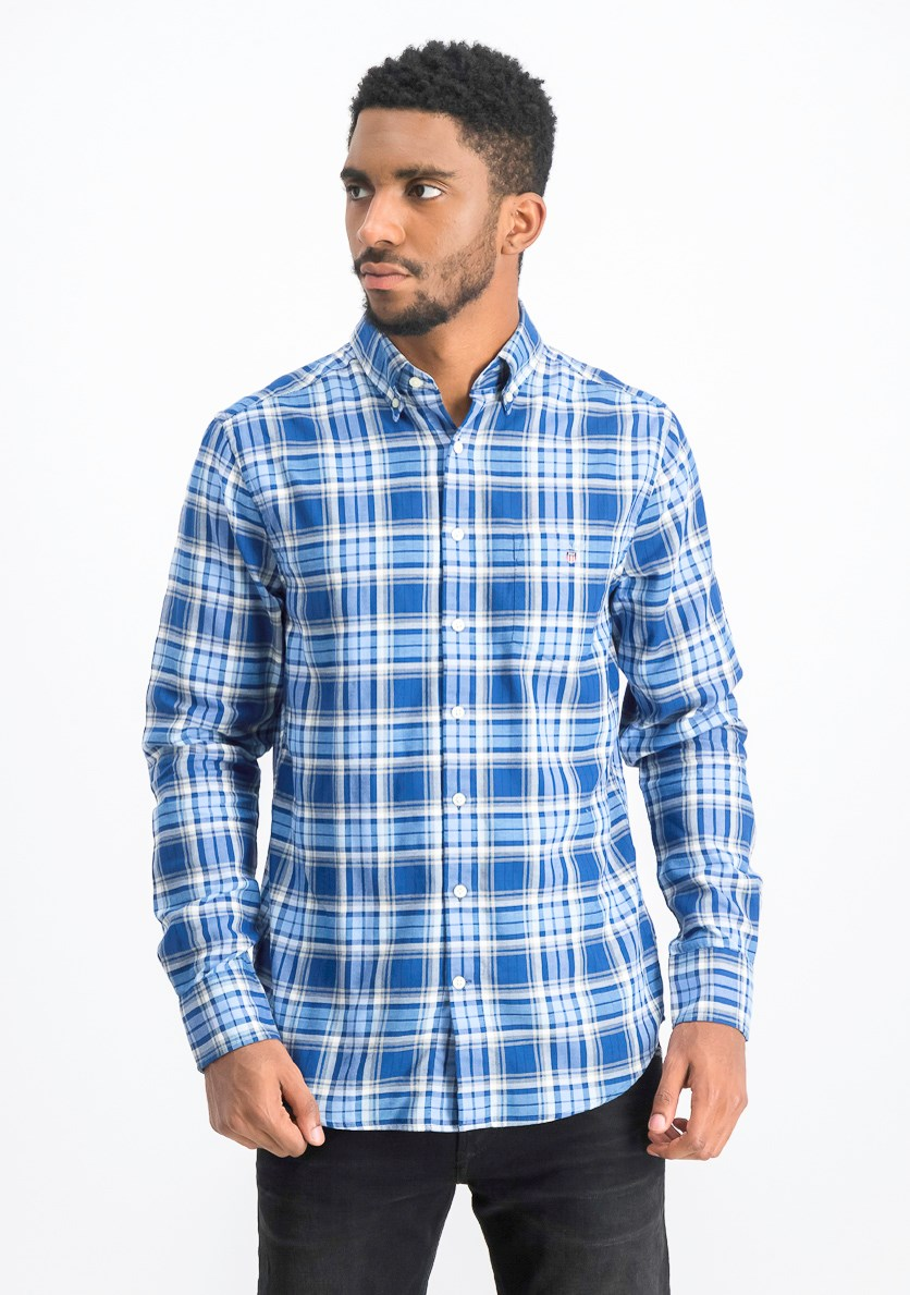 Men's Regular Fit Oxford Plaid Shirt, Yale Blue
