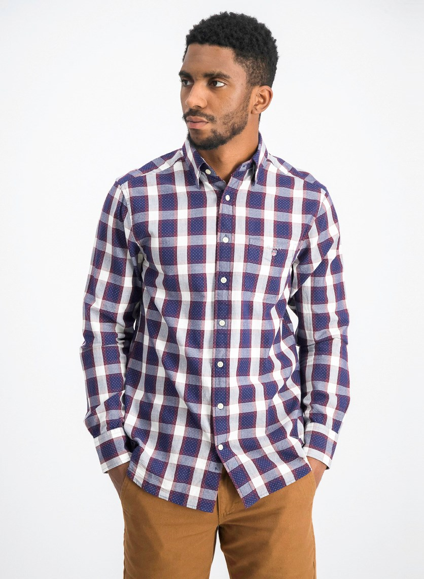 Men's Plaid Long Sleeve Shirt, Burgundy/Grey/Navy