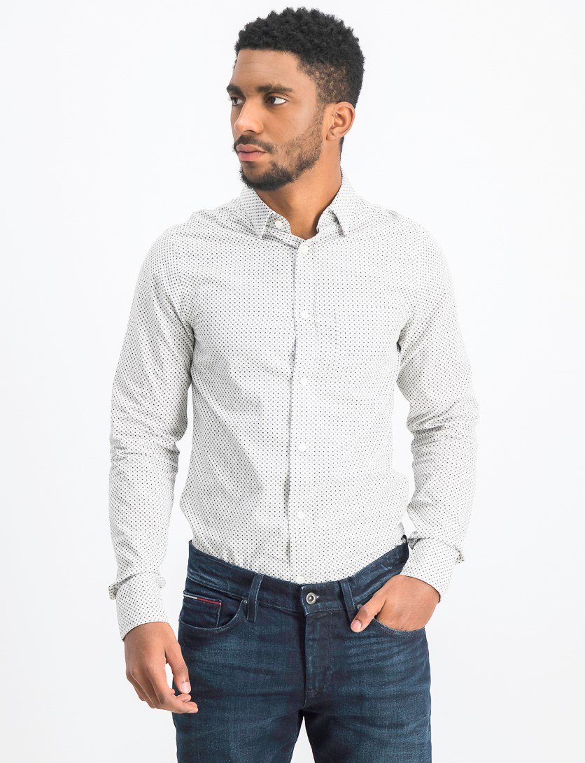 Men's Cubic Print Shirt, White Combo