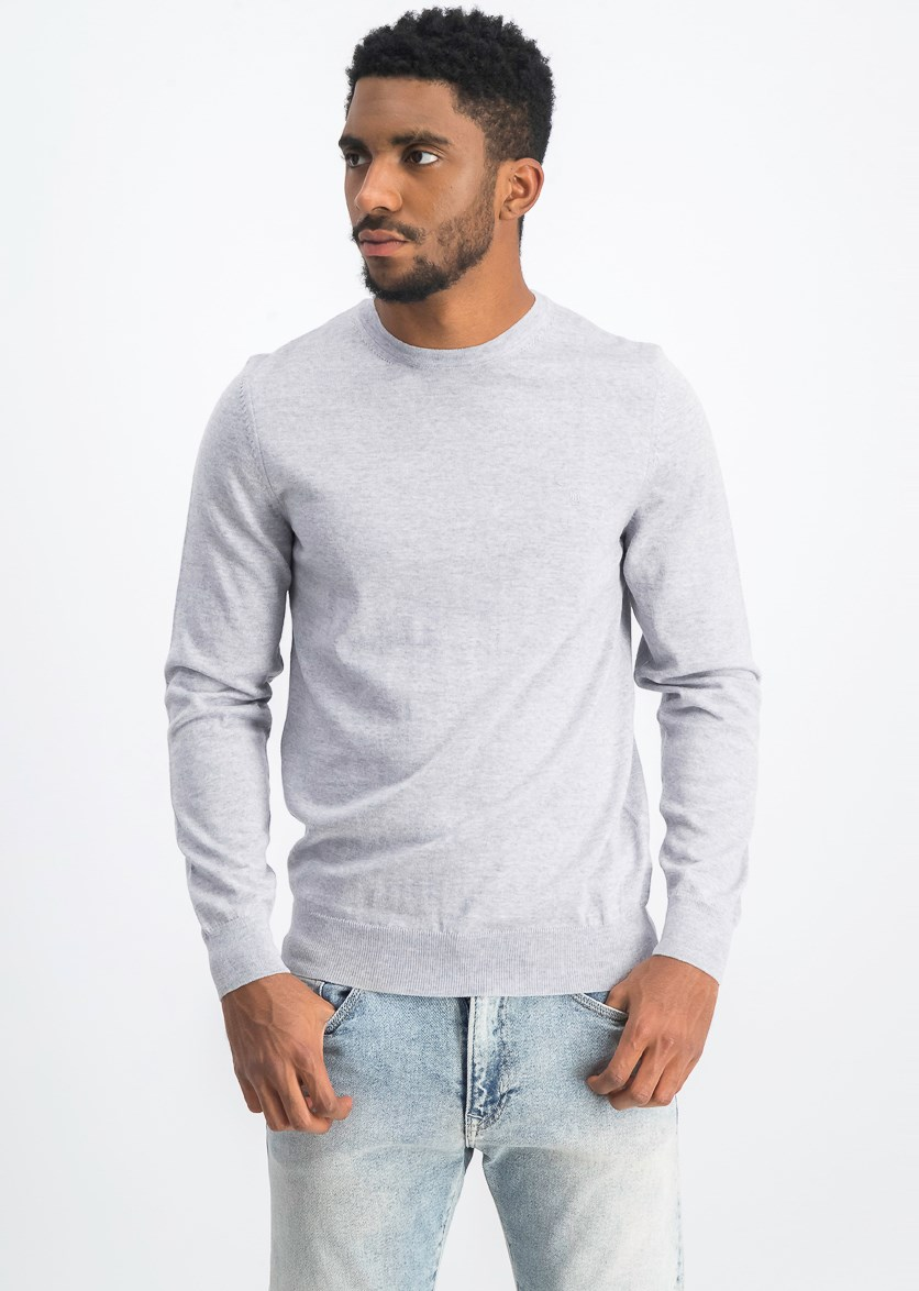Men's Long Sleeve Sweater, Light Grey