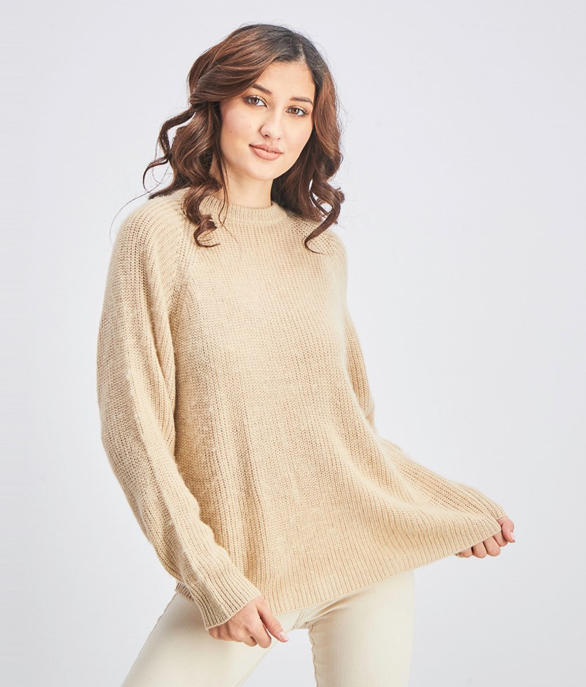 Women's Knitted Pulovers Sweater, Beige