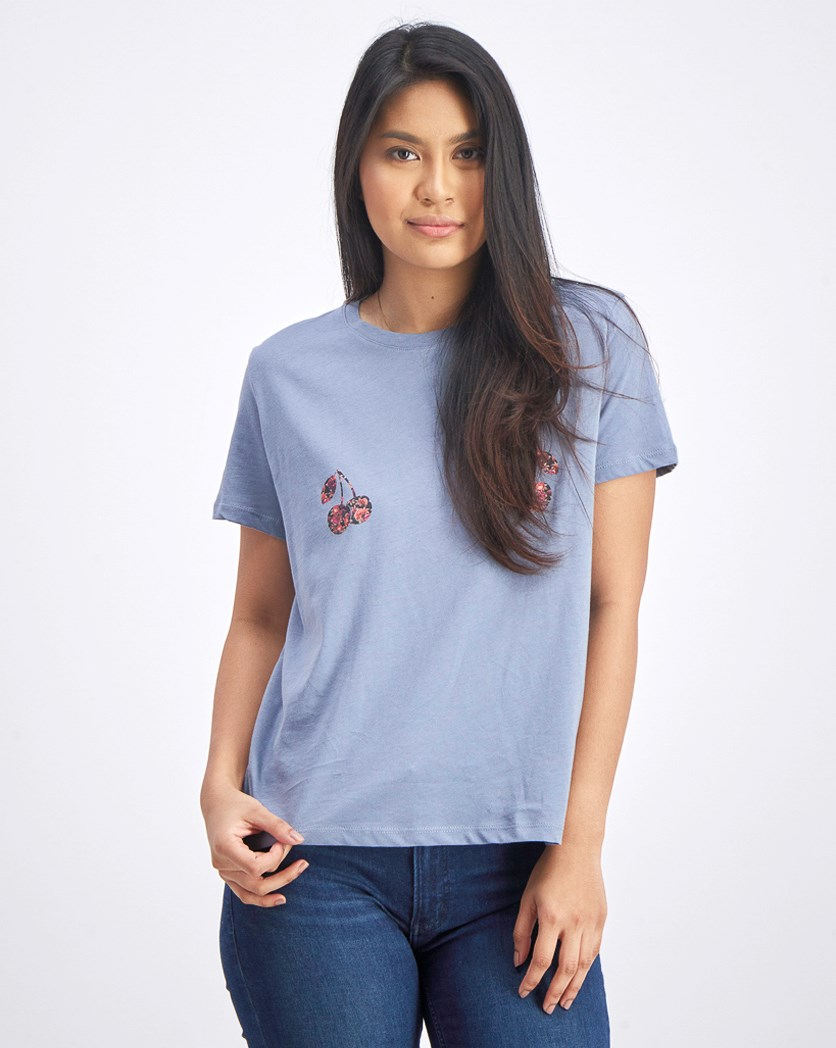 Women's Graphic Printed Tops, Stone Blue