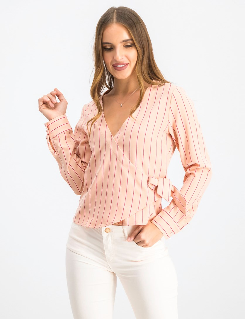 Women's Stripe Wrap Top, Pink Stripe