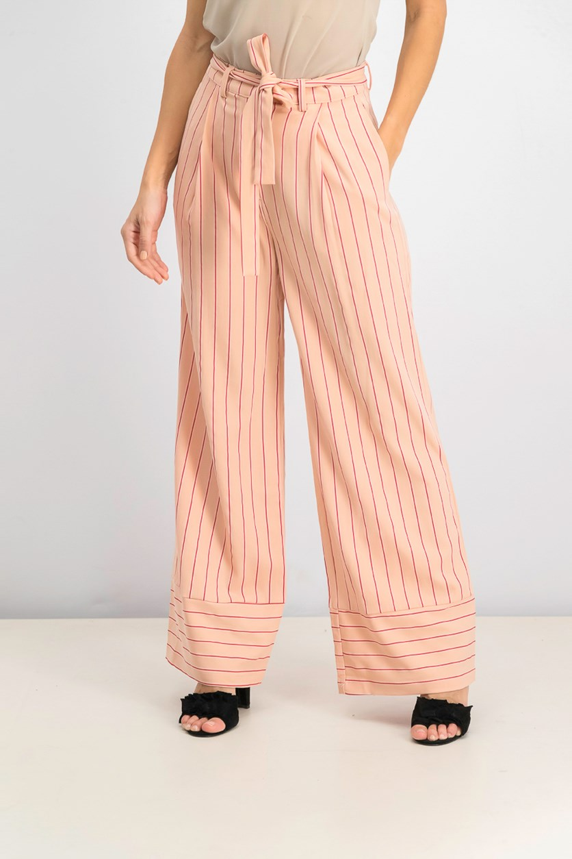 Women's Stripe Wide Pants, Pink Stripe