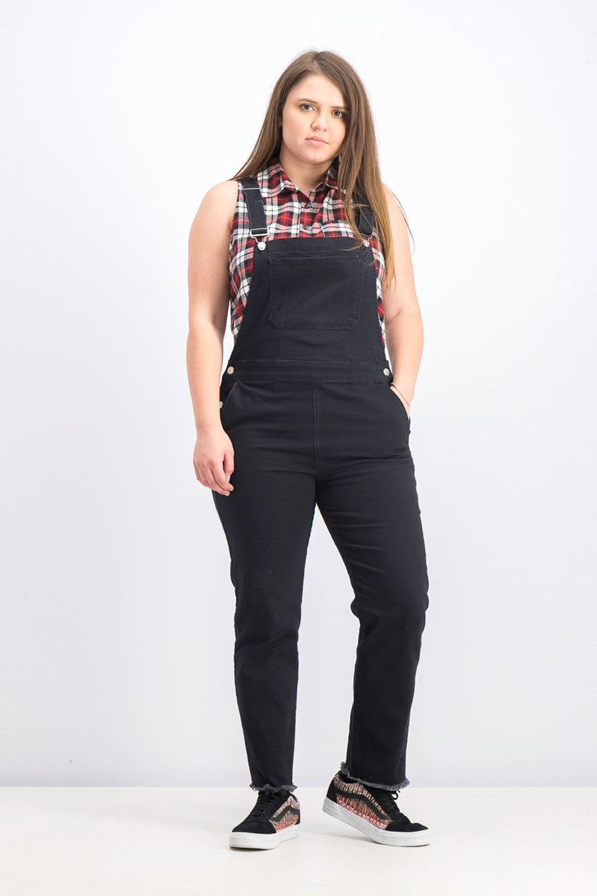 Women's Denim Dungaree Jumper, Black