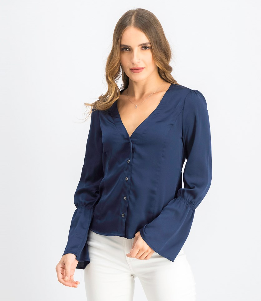 Women's Button Flounce Sleeve Blouse, Dark Navy