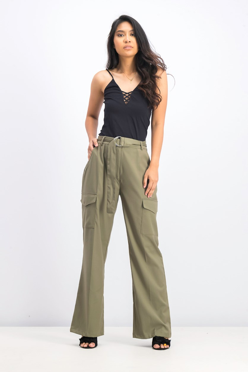 Women's Patch Pocket Belted Pants, Khaki Green