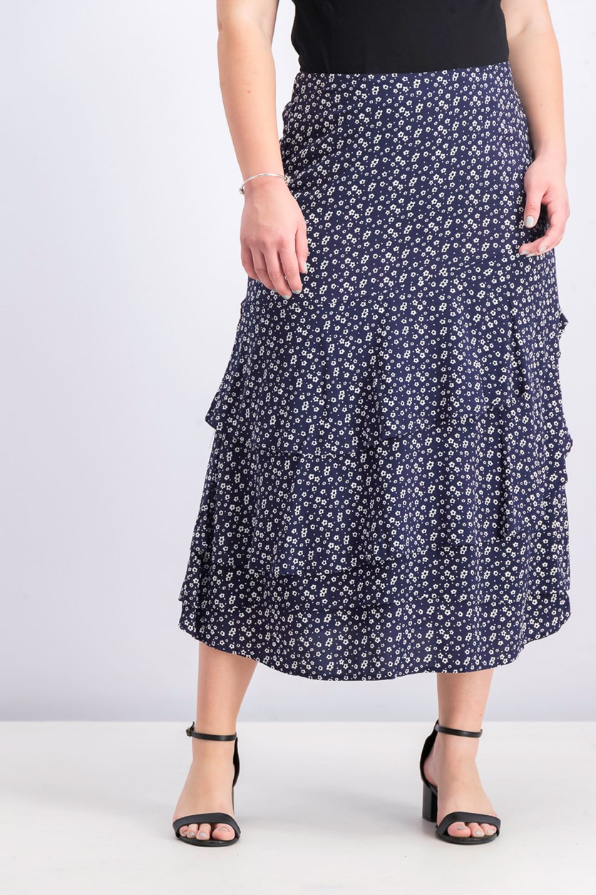 Women's Floral Pattern Maxi Skirt, Navy