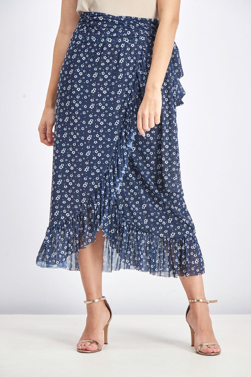 Women's Maxi Floral Skirt, Blue