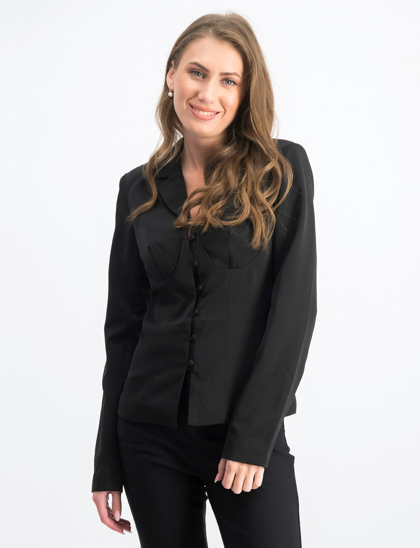 Women's Corseted Blazer, Black