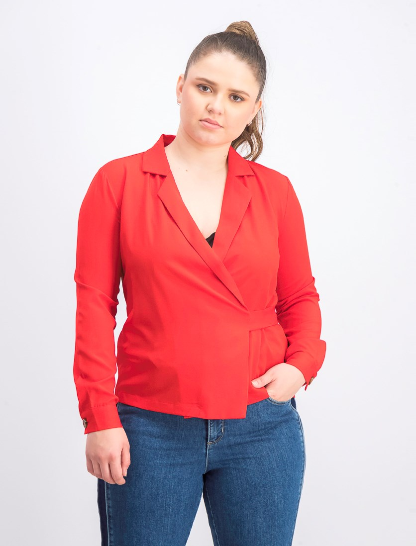 Women's Wrap Blazer, Red