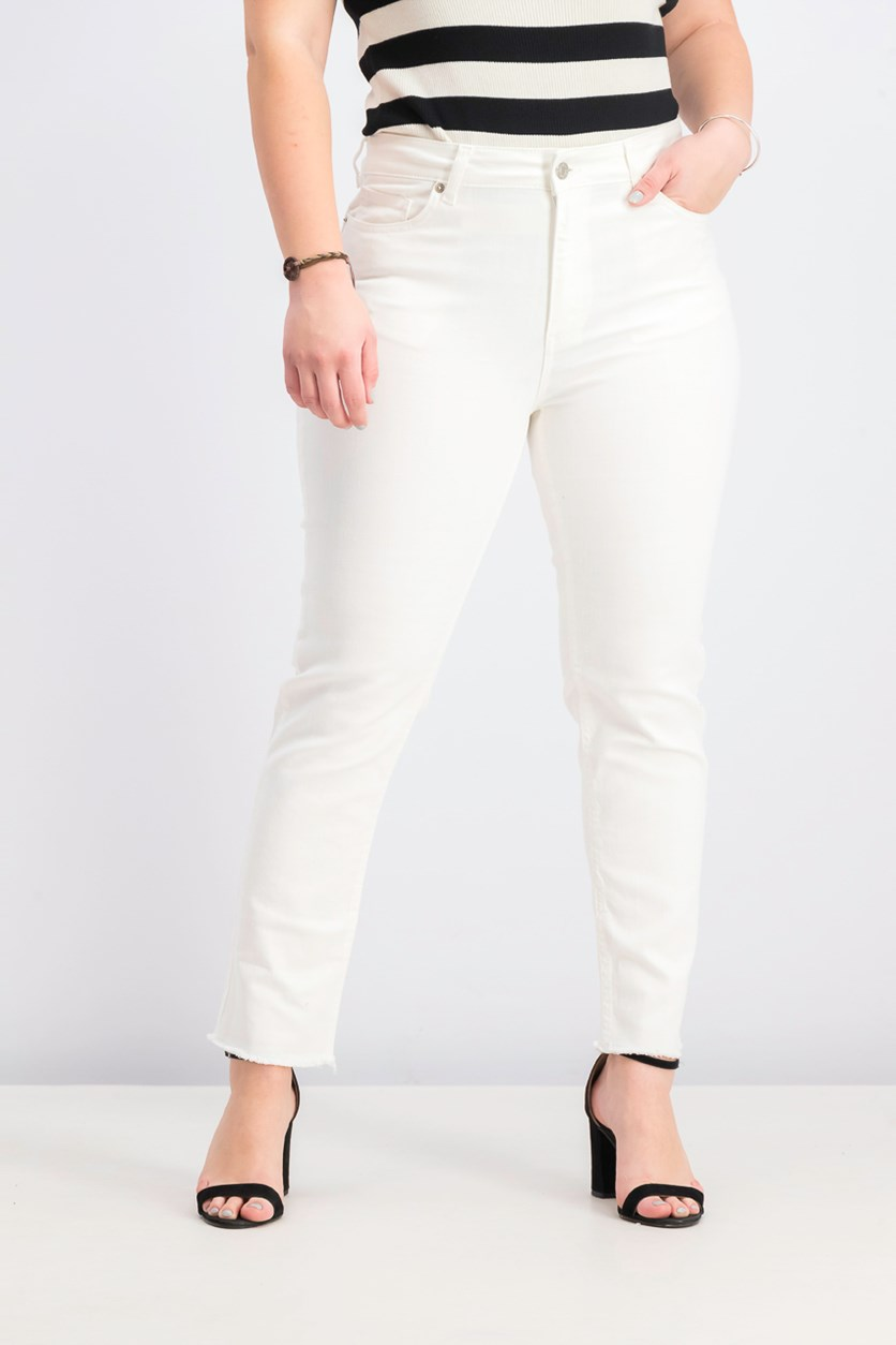 Women's Raw Hem Straight Jeans, White