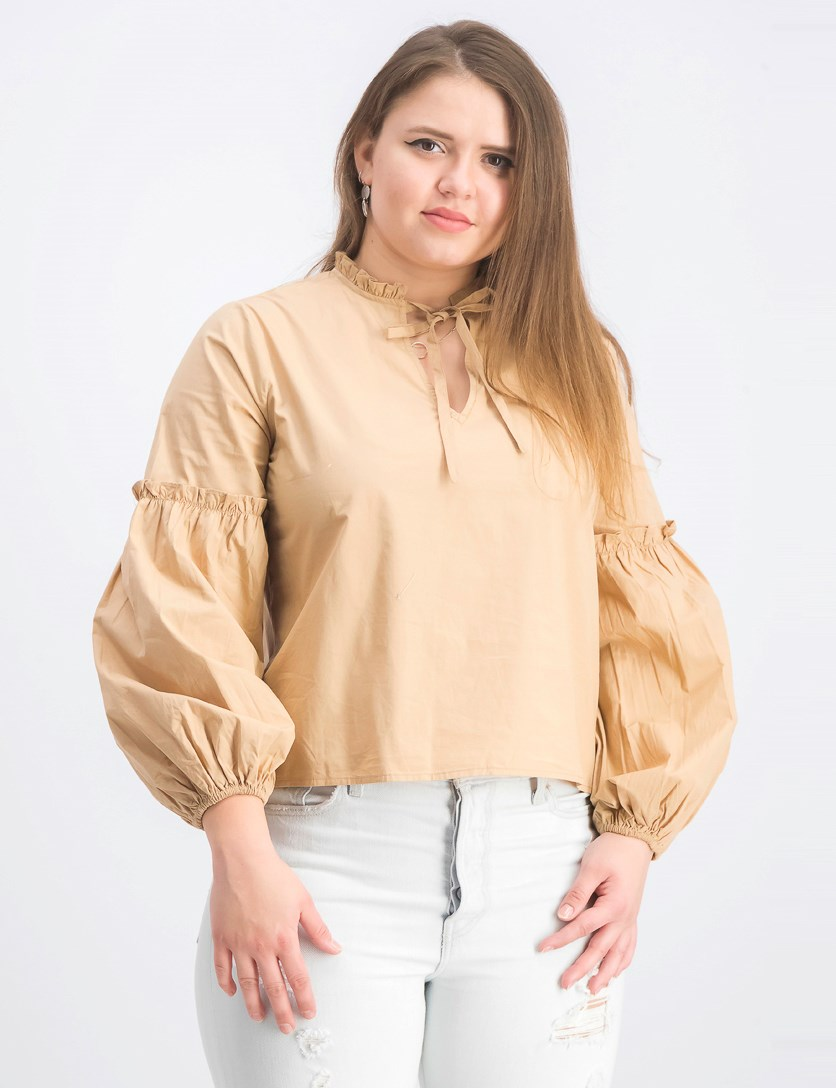 Women's Frill V-Neck Puff Sleeve Blouse, Beige