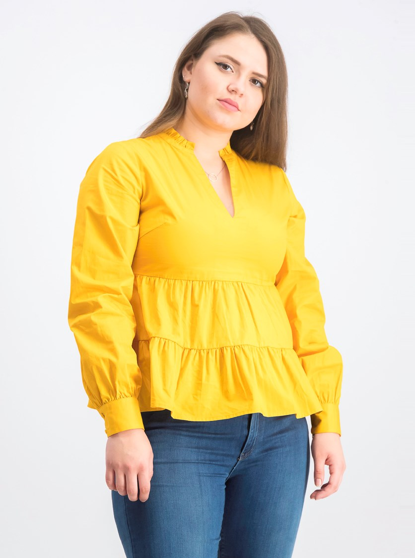 Women' V-Neck Volume Sleeve Top, Mustard Yellow