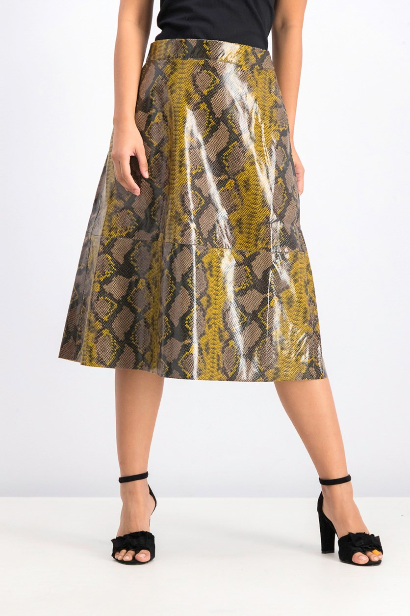 Women's Snake Printed A Line Midi Skirt, Brown/Yellow