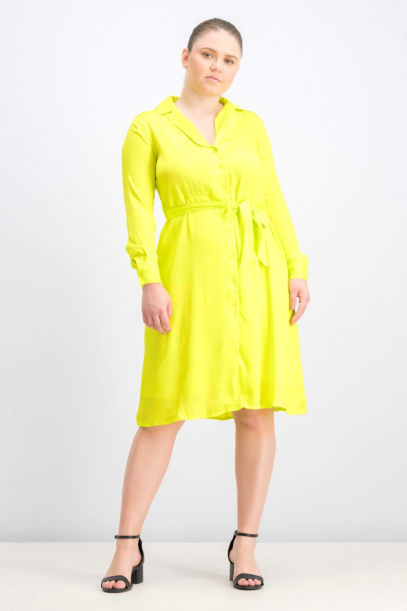Women's Long Sleeve Midi Dress, Neon Green