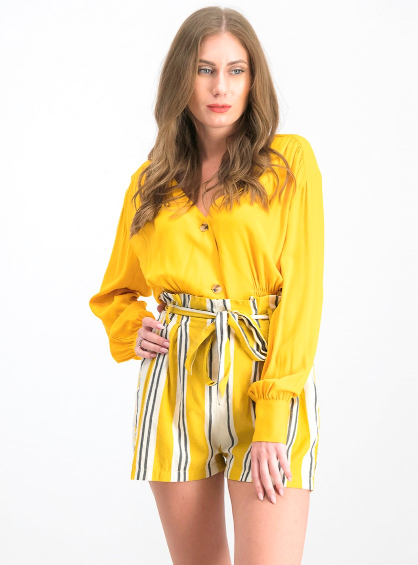 Women's V-Cut Button Up Blouse, Golden Yellow