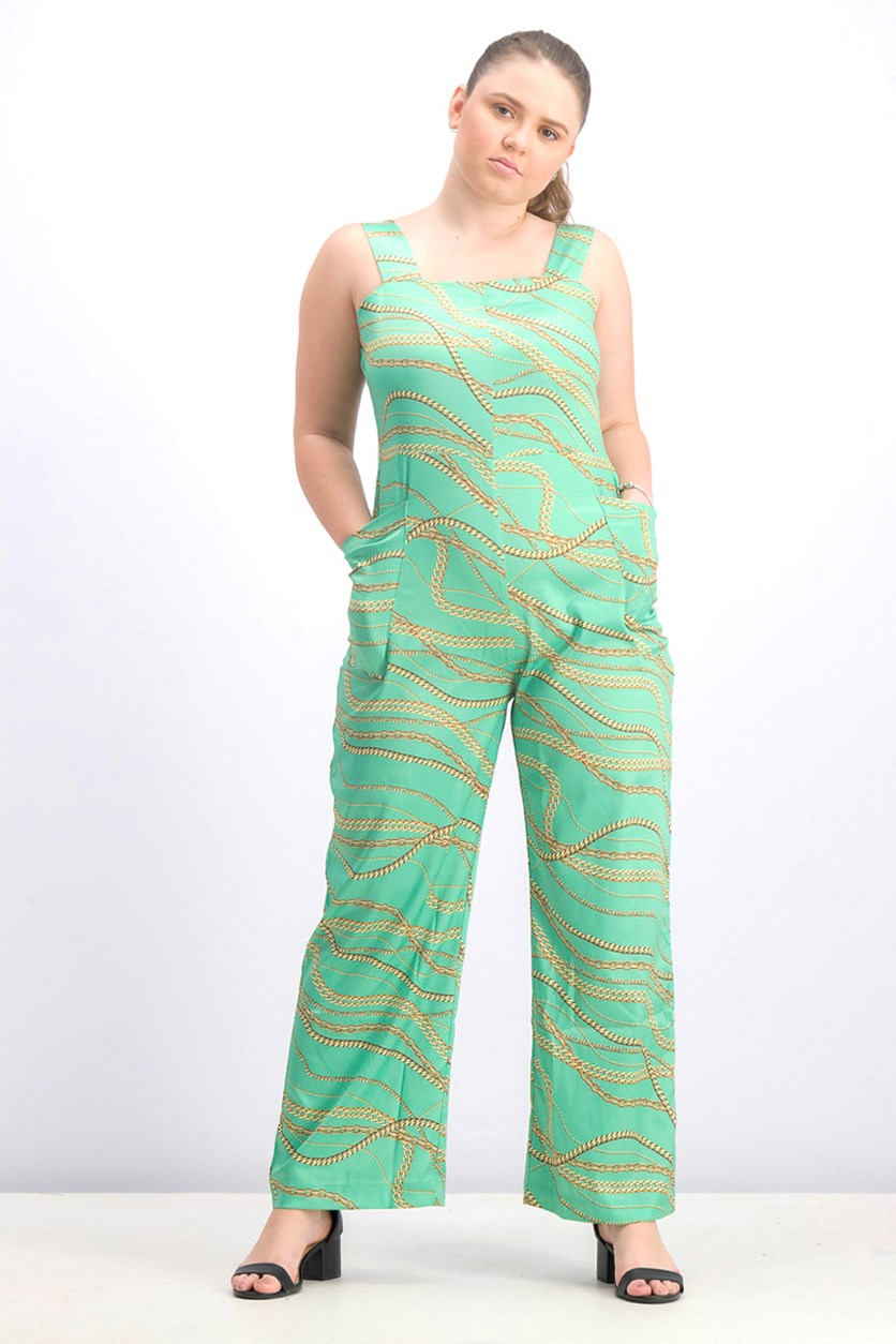 Women's All Over Print Jumpsuit, Light Green