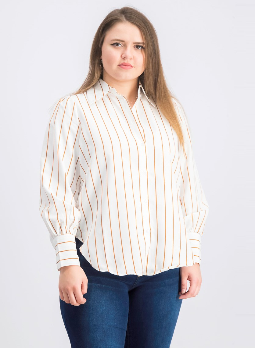 Women's High Slit Stripe Shirt, Brown/White