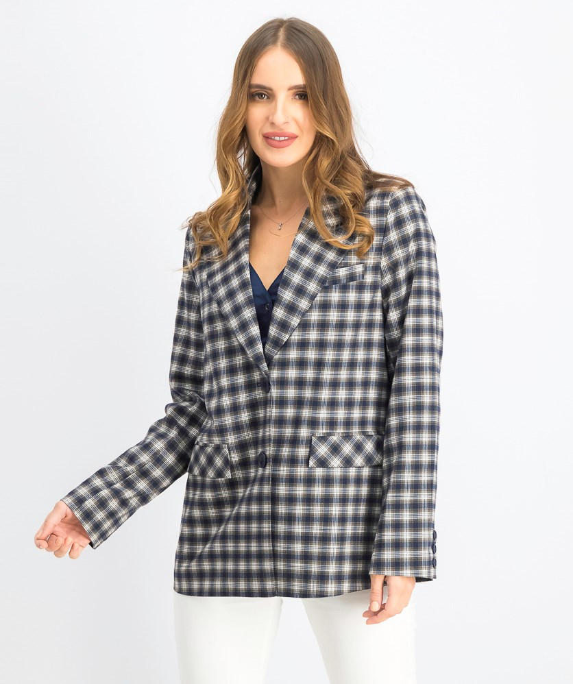 Women's Checkered Straight Fitted Blazer, Navy Checkered