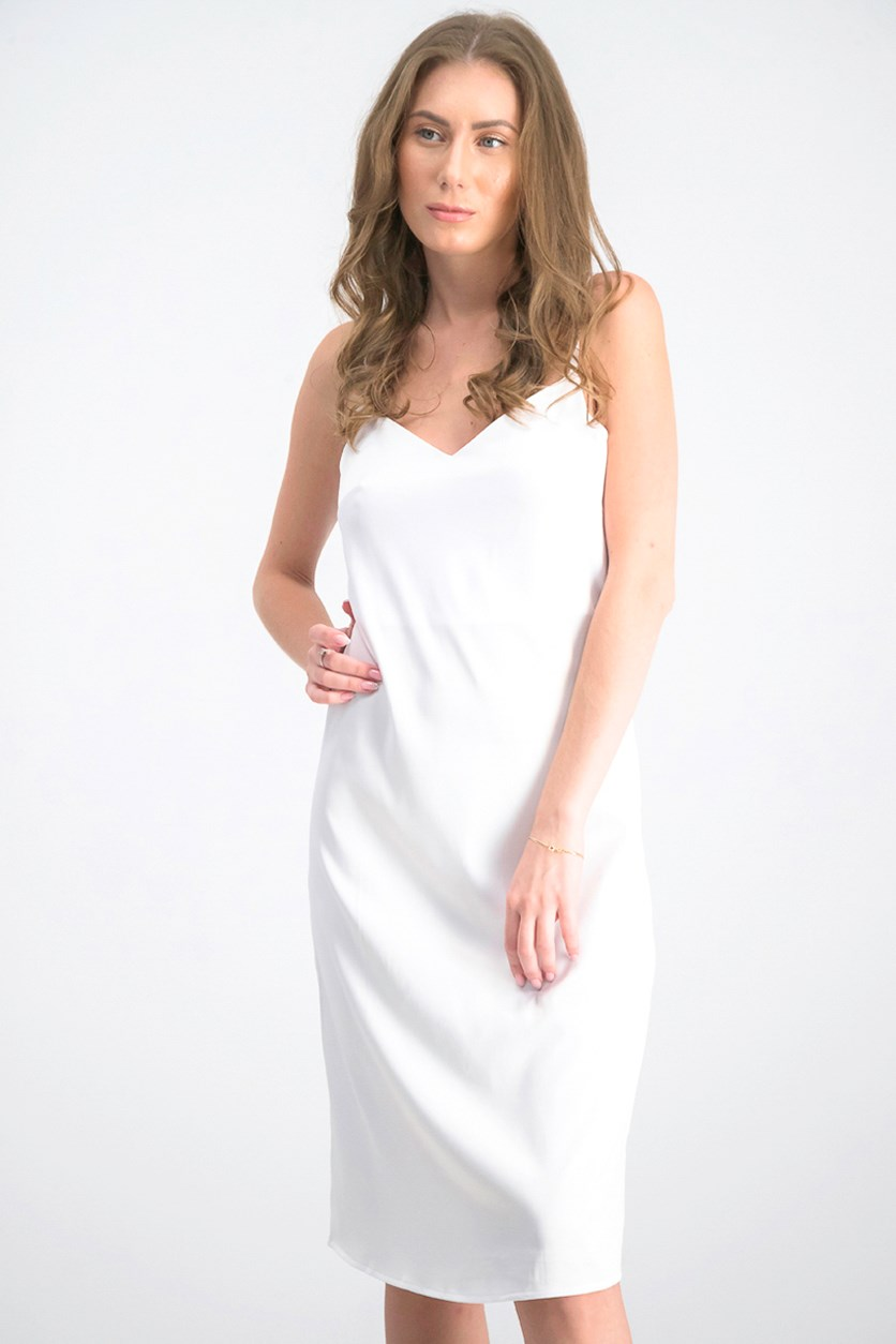 Women's Satin Slip Midi Dress, White