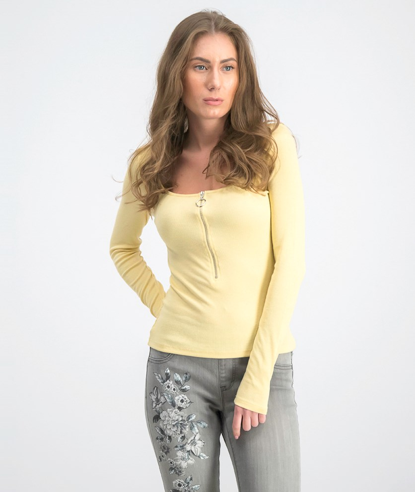 Women's Long Sleeve Zipped Top, Light Yellow