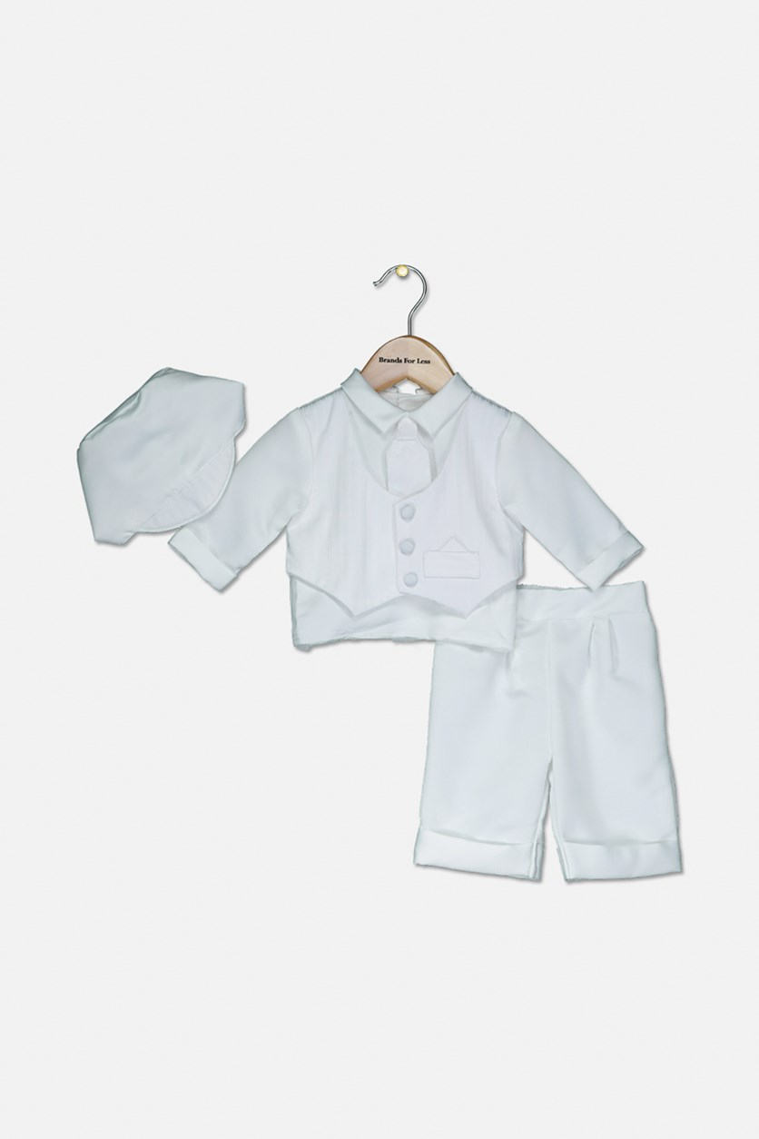 Baby Boy Christening Baptism Infant Satin Vest Set with Pant, White