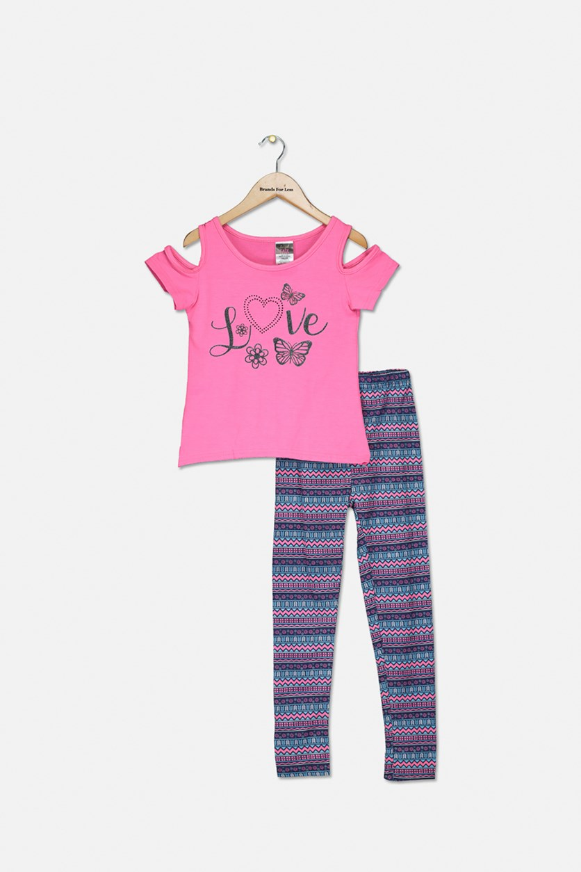 Kids Girl's Fashion Top And Legging Set, Pink/Navy