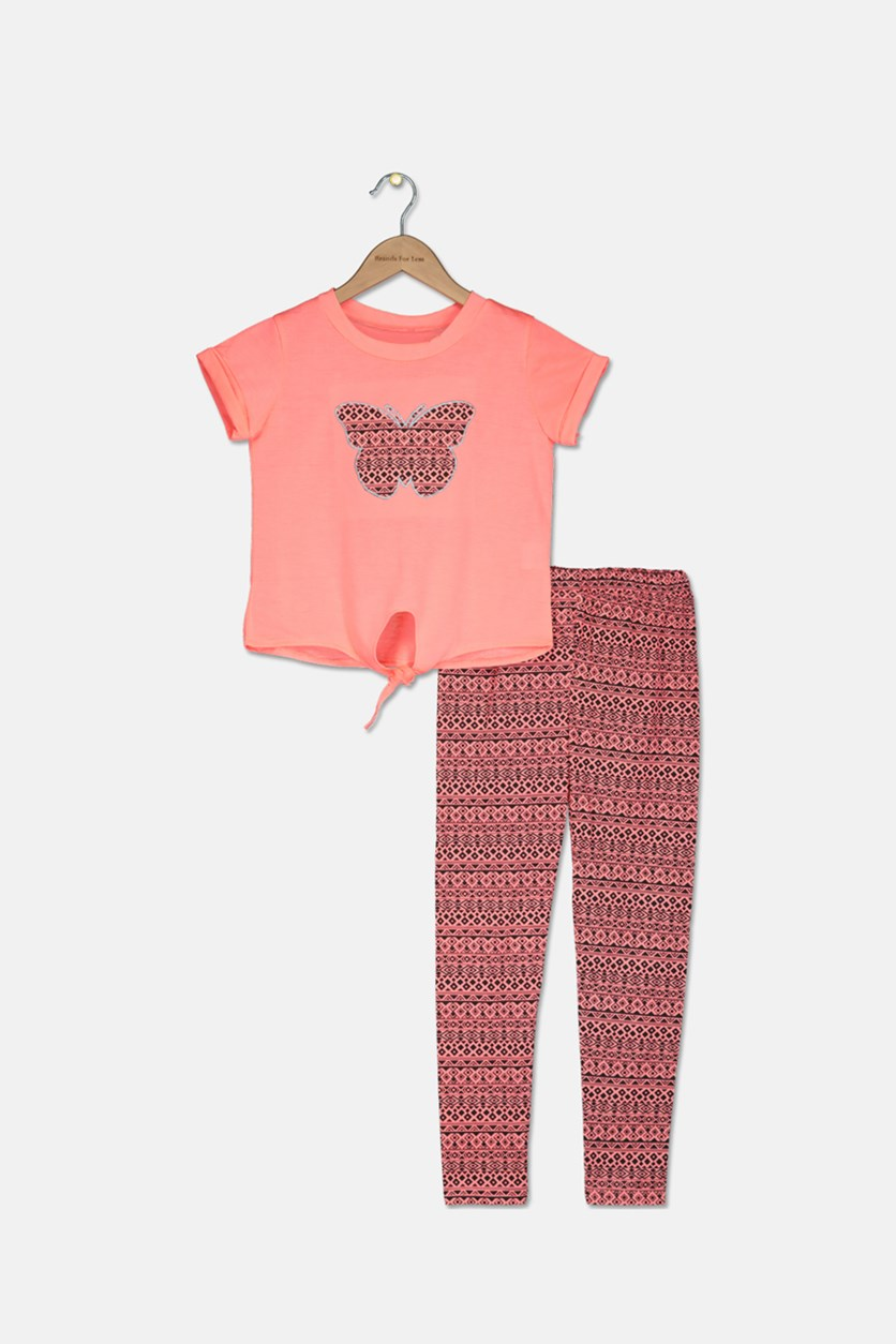 Big GIrls Fashion Top w/ Pant 2 Pcs Set, Orange/Black