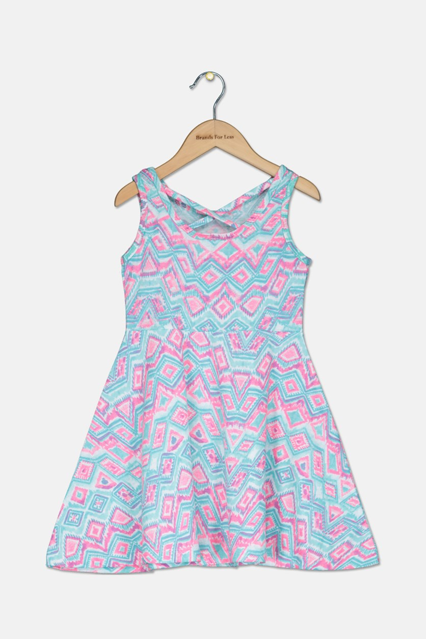 Toddler Girl's Printed Sleeveless Dress, Mint/Pink