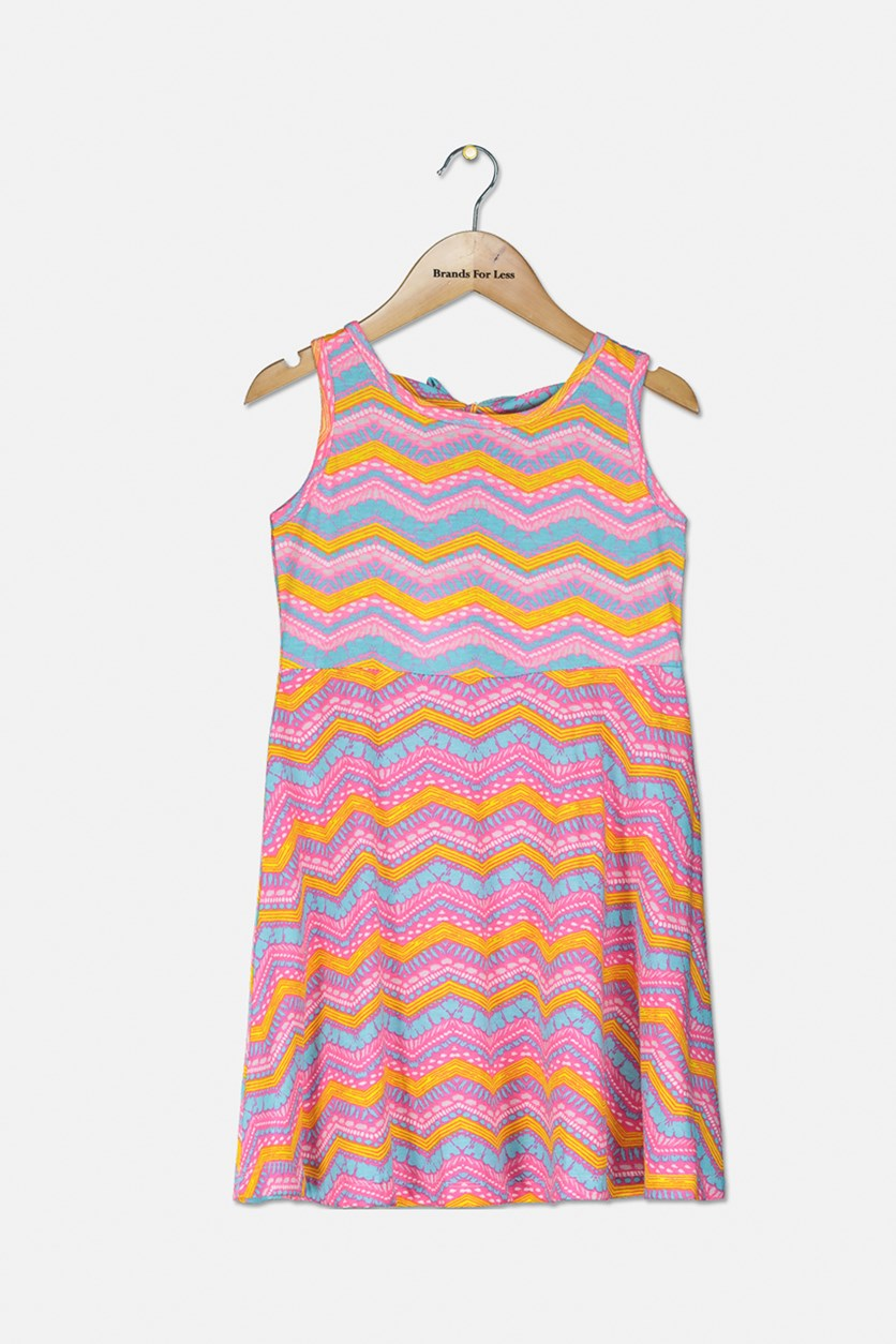 Big Girl's Printed Sleveless Dress, Pink Combo