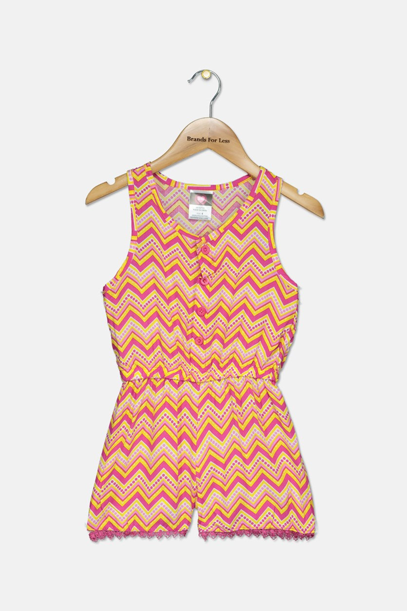 Girl's Toddler Woven Romper, Pink/Yellow