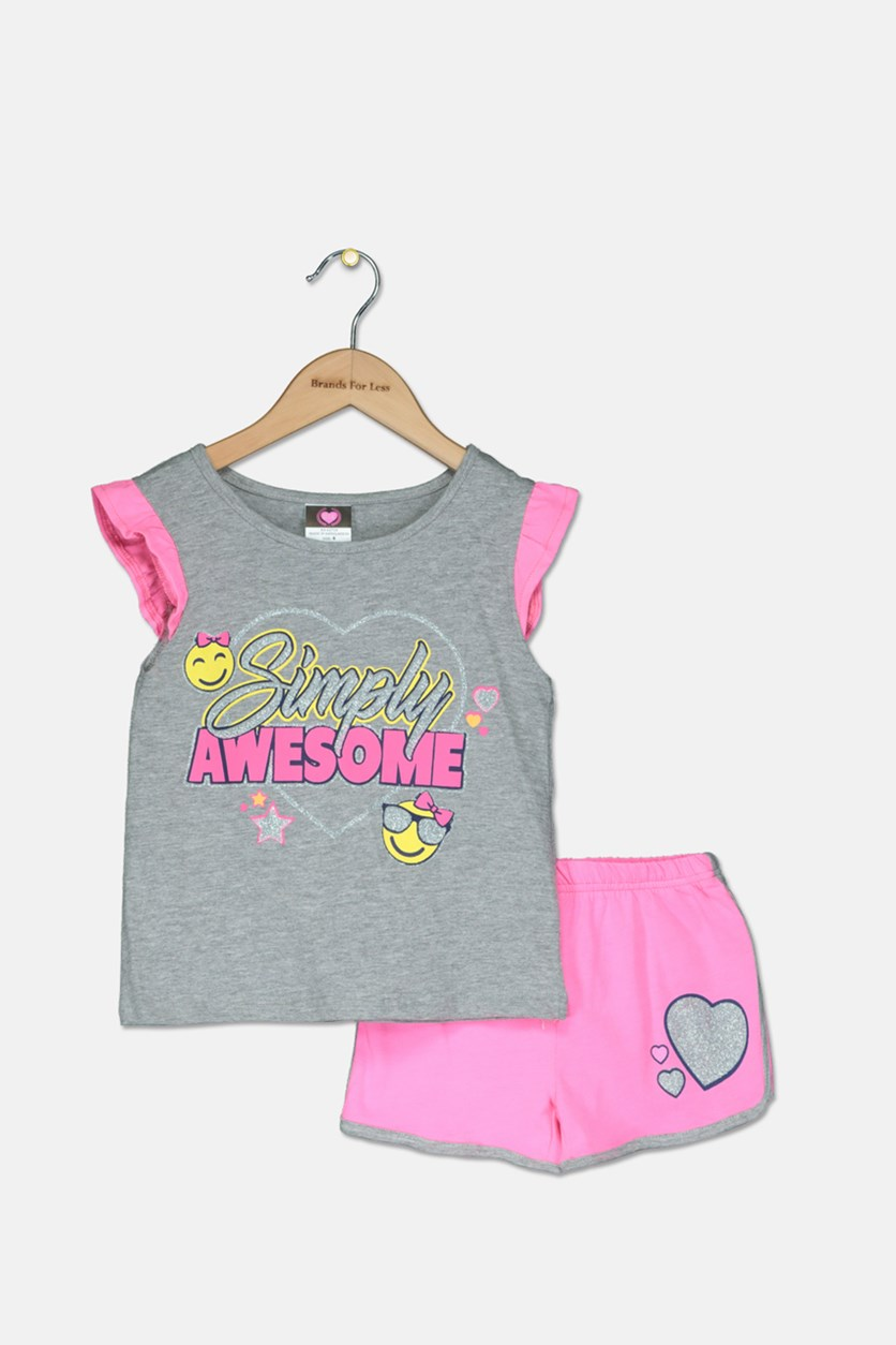 Kid's Girl Graphic Tops With Short Set, Grey/Pink