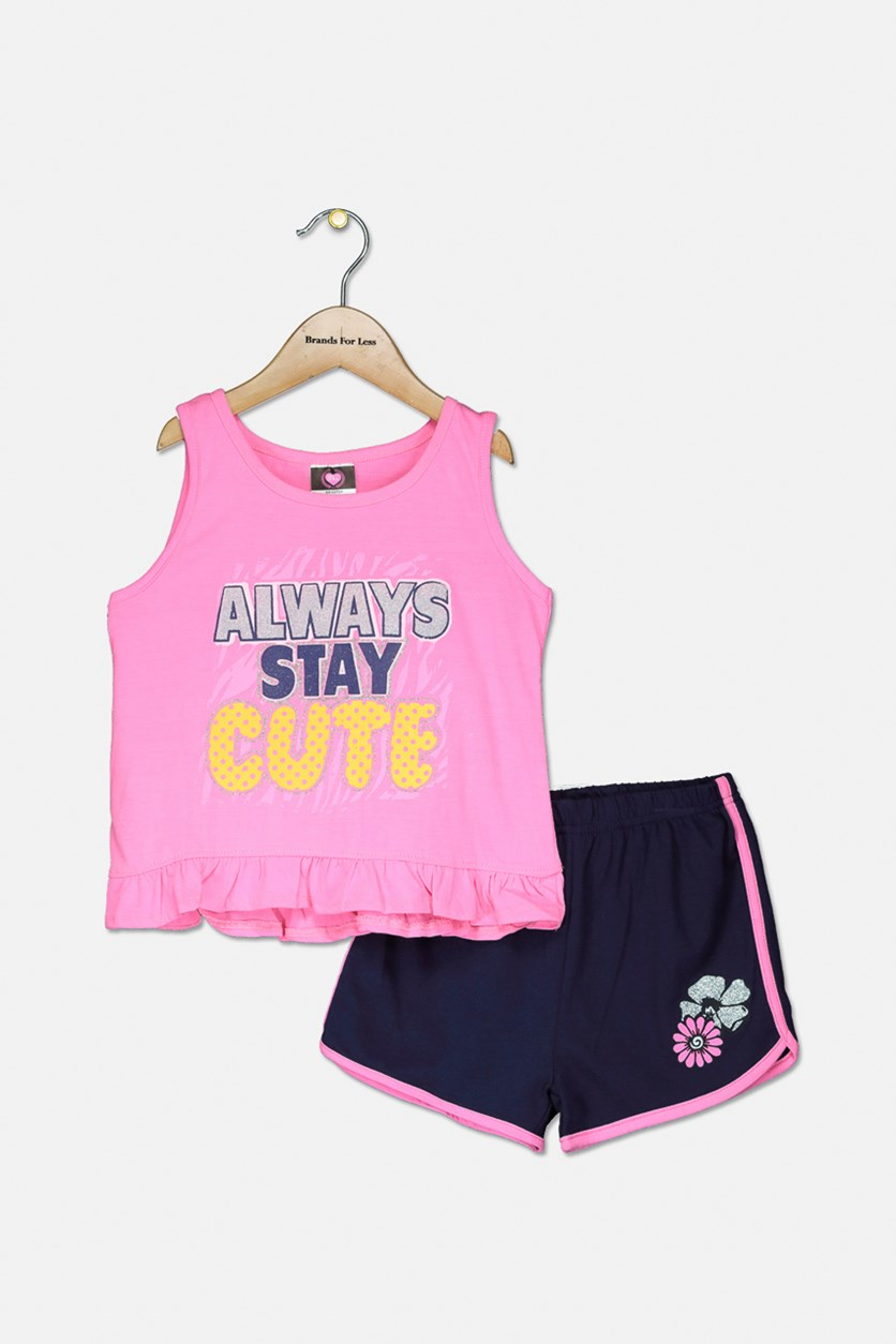 Baby Girls Graphic Top & Short Set, Pink/Navy