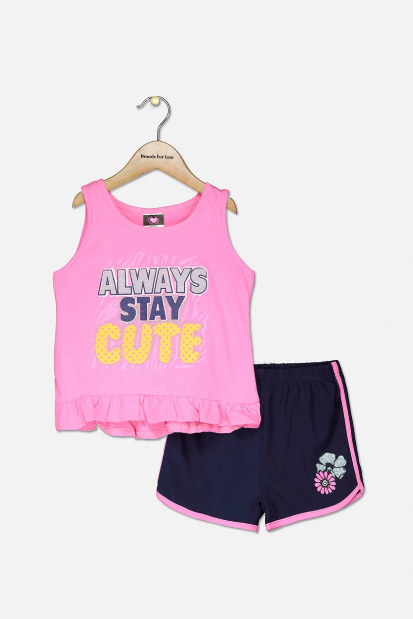 Kid's Girls Graphic Top & Short Set, Pink/Navy