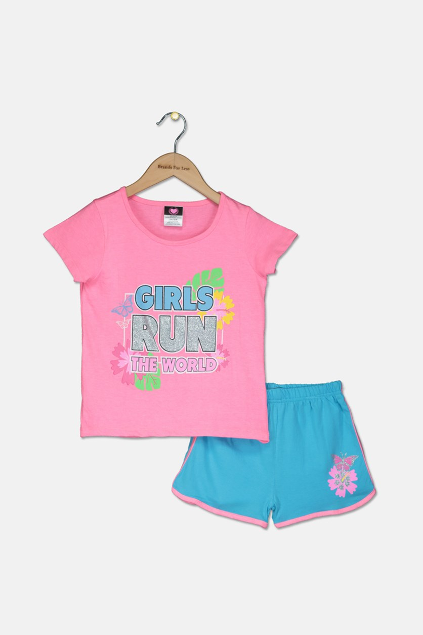 Girl's Knit Top And Short Set, Pink/Turquoise