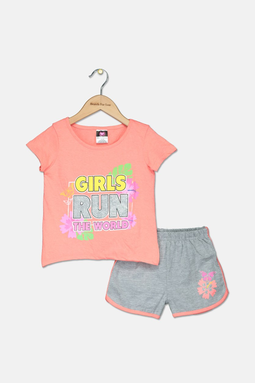Toddler Girl's Knit Top And Short Set, Coral/Gray