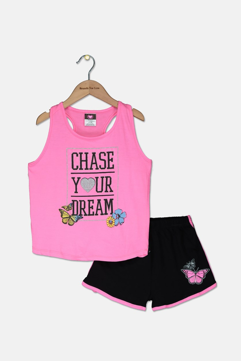 Kid's Girl Graphic Tops With Short, Pink/Black