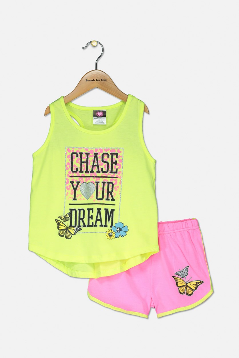Baby Girl Graphic Tops With Short, Yellow Green/Pink